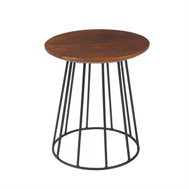 Table d'appoint ronde en bois de manguier