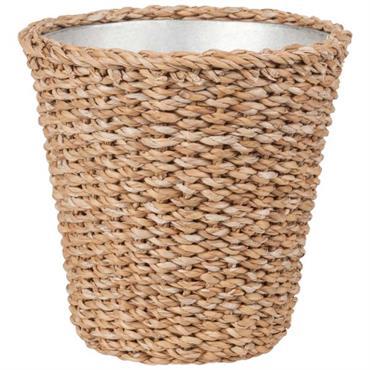 Cache-pot en fibre végétale tressée