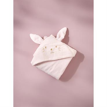 Plaid bébé lapin en coton gaufré et micro-polaire rose pâle