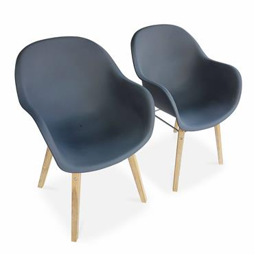 Lot de 2 fauteuils en acacia et résine injectée gris