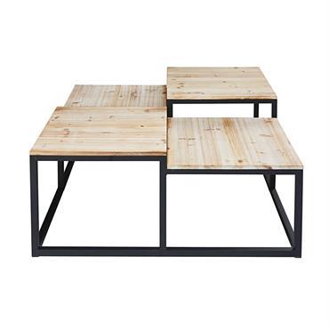 AMBIANCE INDUS La table basse en sapin massif et métal noir LONG ISLAND et son design industriel s'intégreront avec facilité dans un salon classique ou contemporain. LIGNE ORIGINALE Sa ligne ...