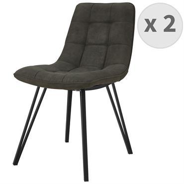 LILY-Chaise microfibre Ebène vintage pieds métal noir