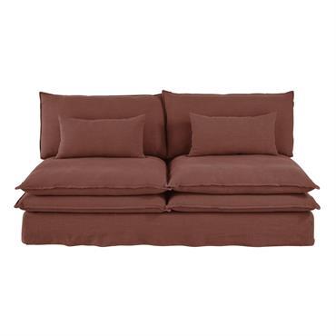 Chauffeuse de canapé 2 places en lin épais rouge rhubarbe Pompei