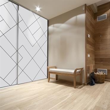 Porte de placard coulissante 2 vantaux en aluminium et toile tendue