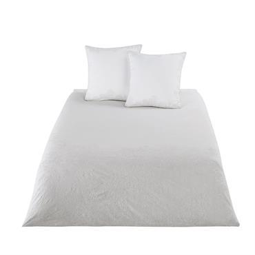 Parure de lit en coton beige motifs brodés blancs 220x240