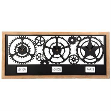 Horloge 3 rouages en métal noir 90x40