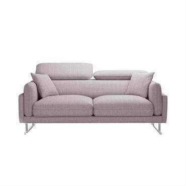 Canapé 2 places toucher lin rose poudré