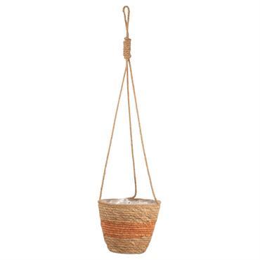 Cache-pot suspendu en fibre de maïs bicolore H18