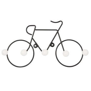Patère vélo 5 crochets en métal noir et céramique blanche