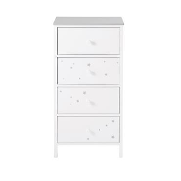 Chiffonnier enfant 4 tiroirs blanc motifs étoiles grises Celeste