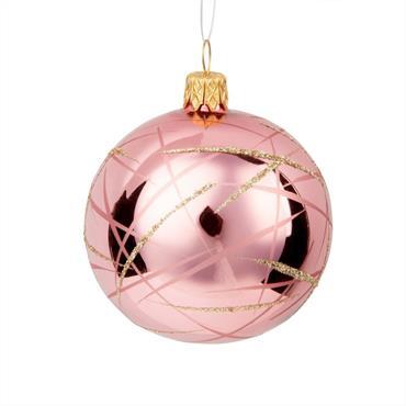 Boule de Noël en verre rose imprimé lignes graphiques