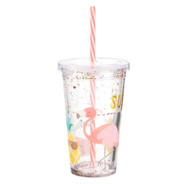 Gobelet en plastique imprimé tropical et paillettes multicolores