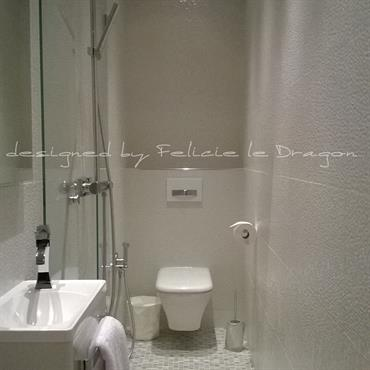 Une petite salle de bains complémentaire créée dans une chambre.  Domozoom