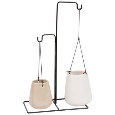 2 cache-pots à suspendre en céramique avec support en métal H34