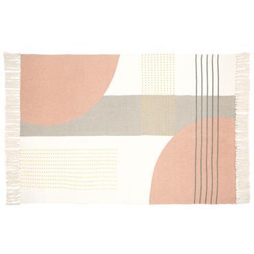 Tapis en coton motifs graphiques multicolores à franges 90x150