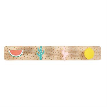 Patère 4 crochets motifs tropicaux