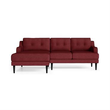 Canapé d'angle gauche 4 places toucher lin rouge