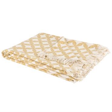 Plaid en coton blanc motifs graphiques jaunes 130x170