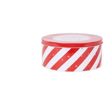 Boîte ronde en métal rouge et blanc imprimé