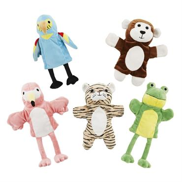 5 marionnettes multicolores