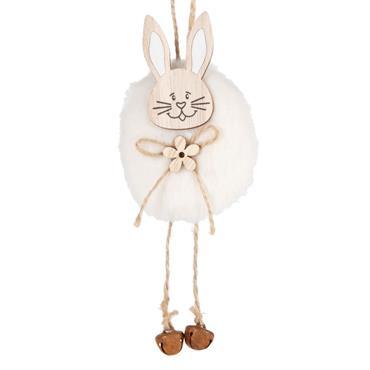 Suspension lapin imitation fourrure blanche avec grelots