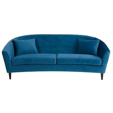 Canapé 4 places en velours bleu pétrole Romy
