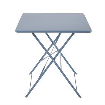 Table de jardin pliante en métal bleu gris 2 personnes L70 Guinguette