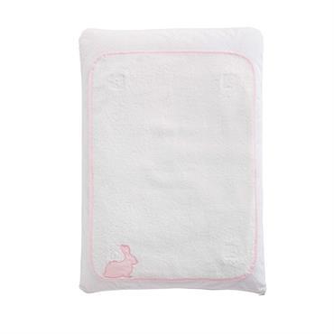Matelas à langer bébé en coton rose et blanc CAPUCINE