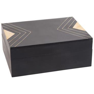 Boîte rectangulaire noire motifs graphiques