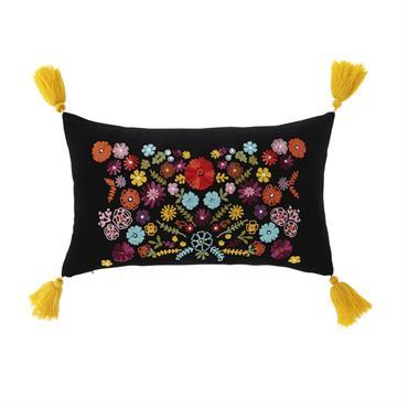 Coussin en velours noir motif floral multicolore et pompons 30x50