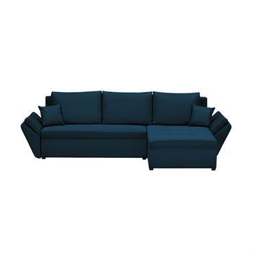 Canapé d'angle bleu pétrole convertible et réversible avec coffre