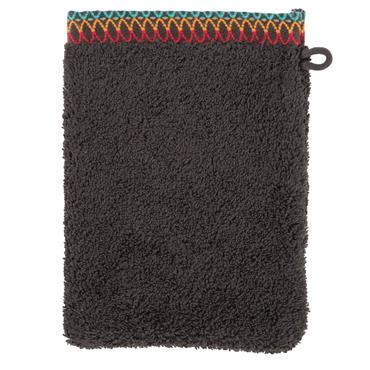Le gant de toilette pour adulte issue de la parure INAYA est en bouclette de coton (600g/cm²) de couleur ébène.