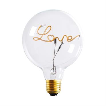Ampoule LED message love en verre