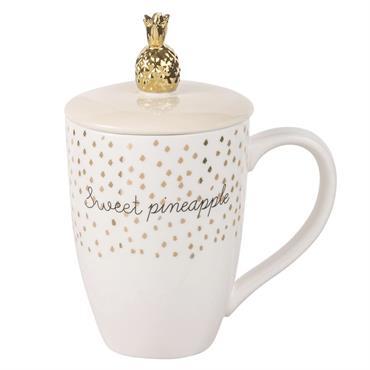 Mug chapeau ananas en porcelaine imprimée