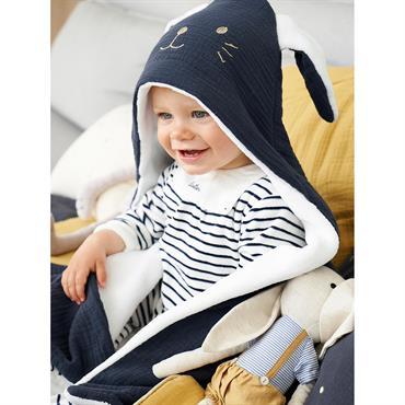 Plaid bébé en coton gaufré et micro-polaire marine