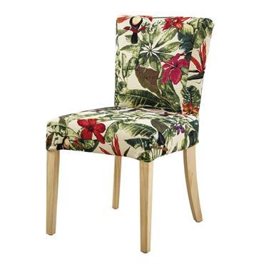 Housse de chaise imprimé jungle multicolore