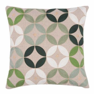 Housse de coussin en tissu beige motifs verts 40x40