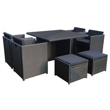 Table et chaises 8 places encastrables en résine noir/noir