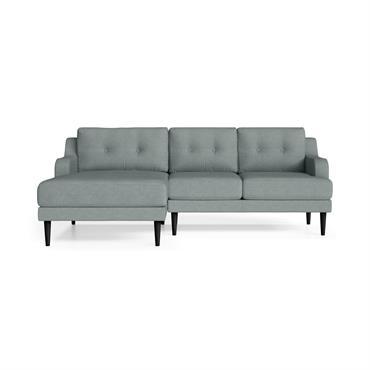 Canapé d'angle gauche 4 places toucher lin menthe