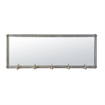 Miroir indus 5 patères en métal noir 135x51