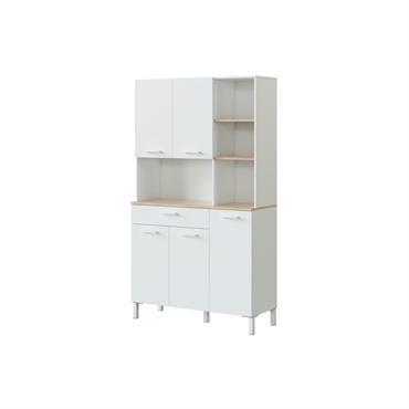 Buffet de cuisine blanc/bois 5 portes L108 x H186cm