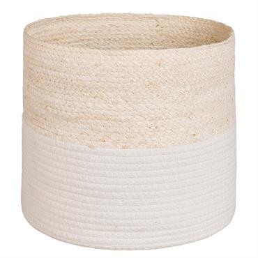 2 corbeilles en vannerie et coton blanc