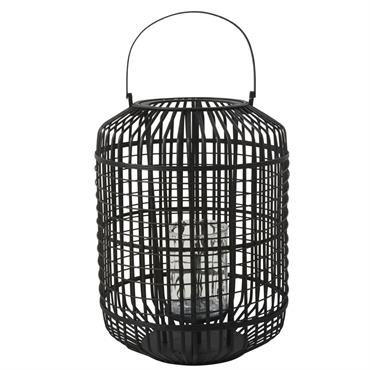 Lanterne en bambou noir et verre