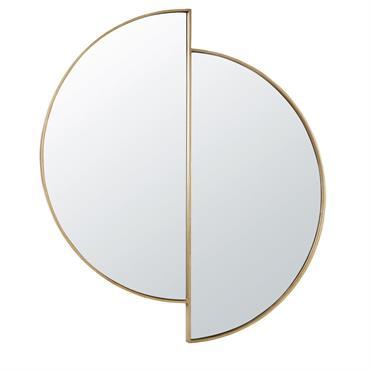 A la recherche d'originalité pour combler vos murs ? Alors le miroir déstructuré en métal doré 86x97 COLEEN pourrait bien vous plaire ! Composé de deux miroirs en demi-lune, il ...