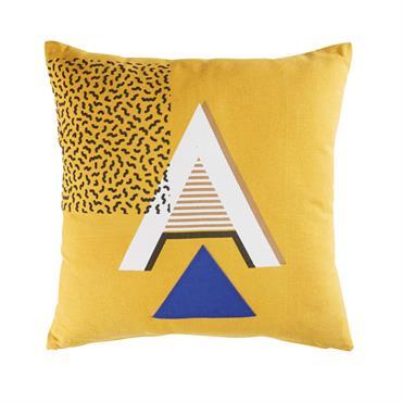 Coussin en coton jaune moutarde motifs graphiques 45x45