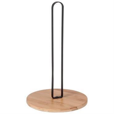 Porte essuie-tout en bambou et acier noir