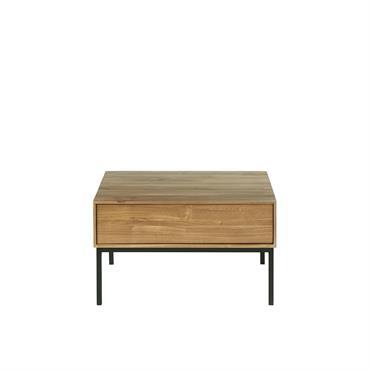 Table basse 2 tiroirs en teck et métal