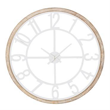 Horloge en sapin et métal blanc D95
