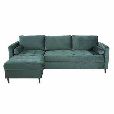 Canapé d'angle convertible 4 places en velours vert Olivia