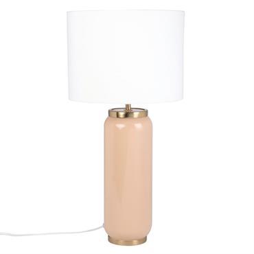 Lampe en métal beige et doré et abat-jour blanc